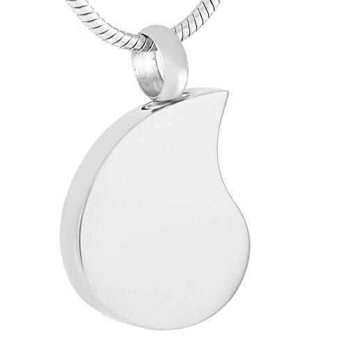 Collar de Moda para Mujer Lágrimas Tono Plateado en Blanco Hueso cremático Hueso Gris Collar Memorial Collar Funeral ataúd Colgante joyería Izar