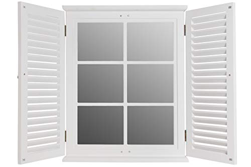 elbmöbel Wandspiegel weiß aus Holz mit Fensterladen Spiegel (80x62)