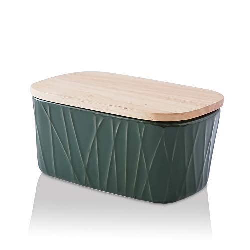 KOOV Porcelain Large Butter Dish with Lid, Airtight Butter Container with Oak Lid, Butter Crock, Perfect for 2 Sticks of Butter, Irregular Striped Series (Green)