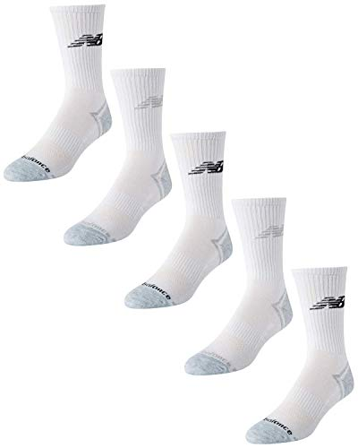 'New Balance Men's Athletic Arch Compression Cushion Comfort Crew Socks (5 Pack), White, Size Shoe Size: 6-12.5'