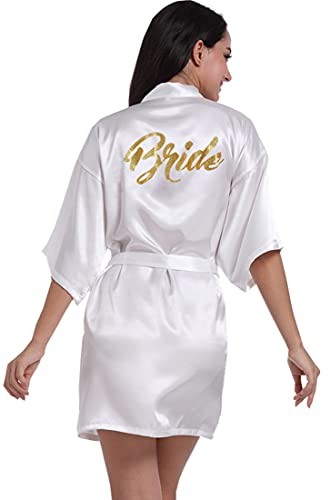 Women's Satin Kimono Robe for Bridesmaid and Bride Wedding Party Getting Ready Short Robe with Gold Glitter White Bride Medium 4-6