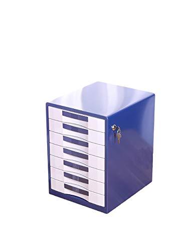 7 lades metalen ladekast eenheid kantoorbenodigdheden papiersorteerder kast opslagbeheer (blauw, goud) vergrendeling opbergdoos A