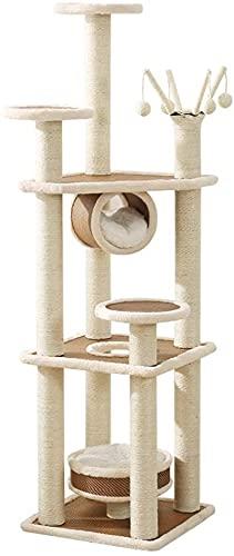 NYCUABT Mehrstöckiger Katzensturm, 15 8 cm Cat Activity Center, Katzenwohnungsbaum mit Sisal-Kratzsäule, Plattform, Hängender Korb