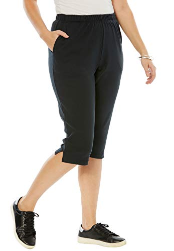 Roamans Women's Plus Size Soft Knit Capri Pant - 2X, Black