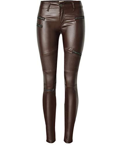 Flainstar Mujer Elástico Cuero Pantalones Slim Tight Recubierto Cintu