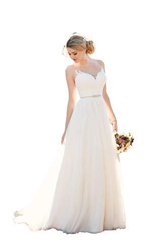 Nanger Damen A Linie Spitze Hochzeitskleider Standesamt Tüll Brautkleider Jahrgang Lang Weiß 42