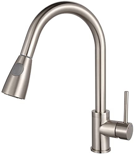 Luxice Modern Stainless Steel Single Handle Pull Down Spray Kitchen Sink Faucet, Brushed Nickel Finished