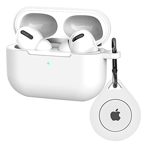 Compatible with Airpods Pro Case Airtag Tracker Holder Slot Airtag Airpod Pro Case with Keychain Shock-Proof Silicone Skin Cover for AirPods Pro, Bluetooth Finder Case for Airtags Tracker Whtie