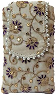 Yamuna Creations Silk Saree Clutch Mobile Waist Clip Ladies Purse Gift for Women & Girls with Motis and Embroidery Work (W...