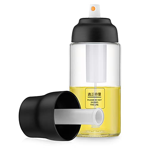 Olive Oil Sprayer for Cooking, Oil Dispenser Mister Food Grade Glass Spray Bottles for Kitchen, Oil Spritzer for Air Fryer, BBQ, Making Salad, Baking, Roasting(150ml)