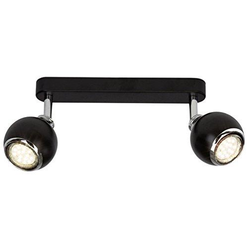 Brilliant Ina LED Spotbalken 2 flg Deckenstrahler schwenkbar schwarz/chrom 500 Lumen, 2x GU10 3W LED-Reflektorlampen inklusive