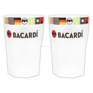 Bacardi Cocktail Longdrink Glas Gläser Set - 2X Longdrinkgläser 2/4cl geeicht - Deutschland Fan Edition aus Kunststoff