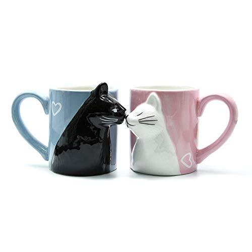 Kuss-Katzen-Kaffee-Paar-Bechersatz, Keramik TeeTasse für Braut und Bräutigam, Geschenk für Geburtstag, Jubiläum, Hochzeit, Engagement, Valentinstag,Freundin,Frau