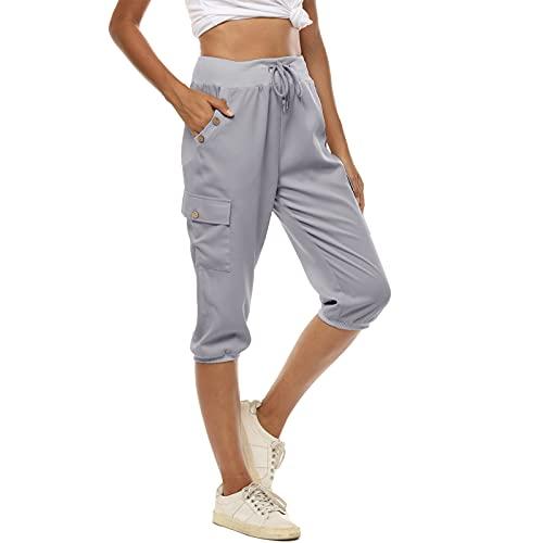 MUYOGRT Pantalones pirata de verano para mujer, pantalones pirata 3 4, pantalones deportivos, elegantes, monocolor, holgados, elásticos, con bolsillos A-gris XL