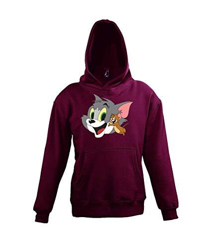 Youth Designz Kinder Hoodie Kapuzenpullover Modell Jerry Tom Jerry, Gr. 96/104 (4 Jahre), Burgundy