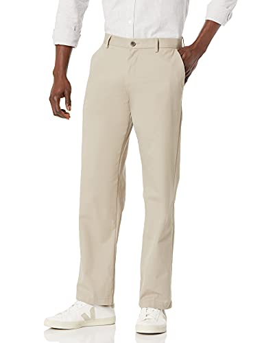 Amazon Essentials Men's Classic-Fit Wrinkle-Resistant Flat-Front Chino Pant, Khaki, 35W x 30L