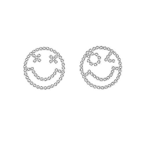 LDH Pendientes Asimétricos, Aretes Emoji Plateados Personalizados, No Fáciles De Ser Alérgicos, Diámetro De Regalo para Mujeres: 2 Cm