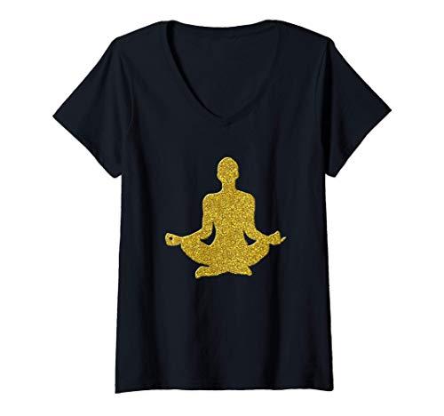 Mujer La meditación Yoga, Zen Relax de oro Símbolo de la vendimia Camiseta Cuello V