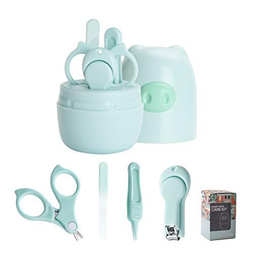 Baby-Nagel-Set, Schere, Nagelknipser, Nagelfeile, Pinzette, 4-in-1, Sicherheits-Baby-Pflege-Set mit niedlichem Etui für Neugeborene, Kleinkinder, Kinder