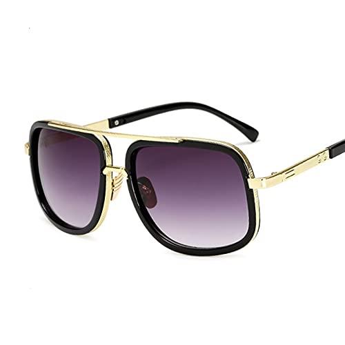 Hanpiyignstyj Gafas De Sol, Gafas de Sol cuadradas Gafas de Sol Damas Conducción Femenina (Color : Gold Double Gray)