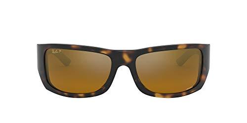 Ray-Ban Men's RB4283CH Chromance Mirrored Rectangular Sunglasses, Havana/Polarized Bronze Mirror, 64 mm