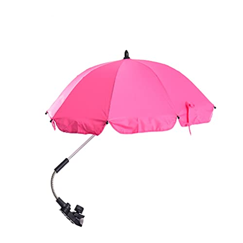Clip-on Universal Stroller Paraguas con protección UV Sombrilla Sombrilla para el cochecito de bebé Silla de playa Silla de playa Sombrilla con abrazadera universal para cochecito ( Color : Pink )