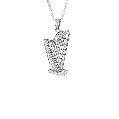 Kleine Schätze Sterling Silber Zirkonia Harfe Anhänger Halskette (Verfügbare Kettenlänge 40cm - 45cm - 50cm - 55cm)