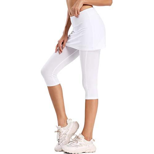 Ultrafun Women's UPF 50+ Capri Skirted Leggings Adjustable Active Running Tennis Sports Leggings Tights Pants with Skirt & Pockets (White, X-Small)