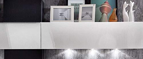 trendteam GO94102 Wohnwand Wohnzimmerschrank Weiss Hochglanz, Absetzung Boxenstoff schwarz, BxHxT 268x175x44 cm - 3