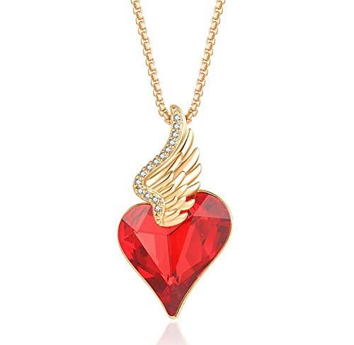 Yatrendy Collares de Corazón para Mujer Collares Carta Collar Colgante de cristal Niña, con Caja Regalo, Regalo para Día de la Madre Esposa y Novia
