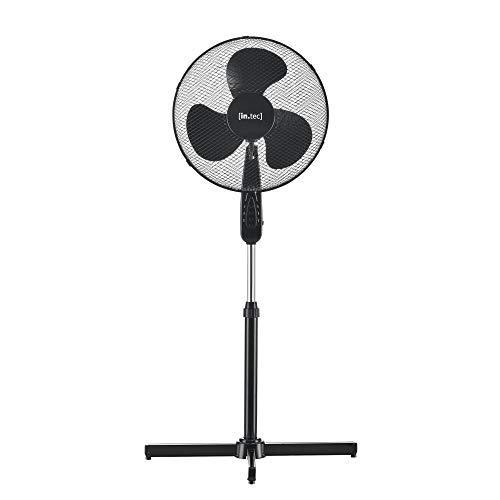 [in.tec] Ventilador de pie 120 x 60 x 60 cm Ventilador de Pedestal 3 Niveles de Velocidad 50W ø41cm Peso 2,3 kg Plástico Negro