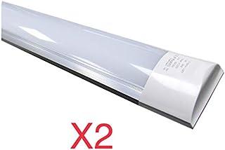 Led Atomant 2X Pantalla Carcasa, 40 W 120 cm, Blanco Frio 6500K, a Prueba de Polvo, Equivalente a 2 Tubos Fluorescentes 3300 lumenes Reales Tubo led T8 Frío