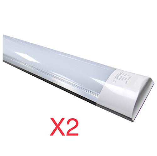 Pack 2x Lampara integrada Led 40W. Color blanco neutro 4500K, 120 cm. 3300 lumenes reales. T8 LED