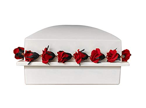 Crowne Vault Burial Urn Vault | Holds One Cremation Urn for Human Ashes | Regent with Red Roses (White)