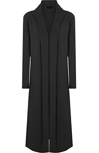 Rimi Hanger Womens Long Sleeve Open Front Crepe Cardigan Ladies Fancy Duster Coat Jacket Black XX Large