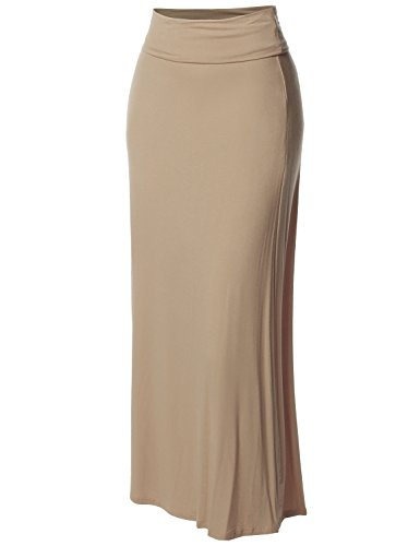 Stylish Fold Over Flare Long Maxi Skirt - Made in USA Beige 3XL