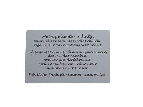 Liebeskarte mit Foto für die Geldbörse, romantische Liebeserklärung personalisiert für Ehemann, Ehefrau, Freund, Freundin, Partner und Partnerin, Farbe:Silber