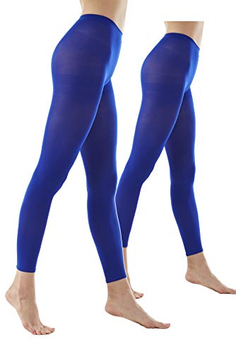 Women's 80Denier Semi Opaque Solid Color Footless Pantyhose Tights 2pair (S/M, Blue)