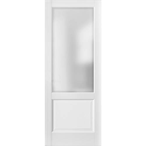 Lite Slab Barn Door Panel 28 x 80   Lucia 22 Matte White with Frosted Opaque Glass   Sturdy Finished Wooden Modern Doors   Pocket Closet Sliding