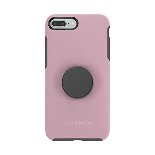 Otter + Pop for iPhone 7+ and 8+: OtterBox Symmetry Series Case with PopSockets Swappable PopTop - Mauvelous and Aluminum Black