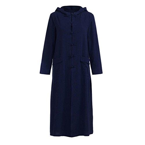 Dasongff Trenchcoat, damesjack met capuchon, linnen, lange mouw, oversized mantel trenchcoat (2XL, blauw)
