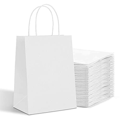 HaiQuan Kraft Paper Bags with Handles Bulk 8 x 4.75 x 10 100pcs, White Paper Gift Bags Bulk, Shopping Paper Bags, Recycled Paper Bags, Medium Size Kraft Bags.