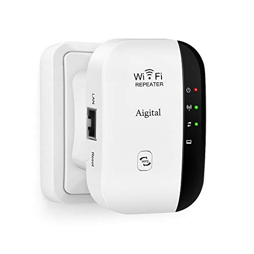 WiFi repetidor Extensor de Red WiFi -300Mbps Mini Wireless Extensor de Rango Inalámbrico Ap Amplificador Repeater Booster Wireless N 2.4GHz Universal EU Enchufe (N300, Puerto LAN, WPS) Aigital