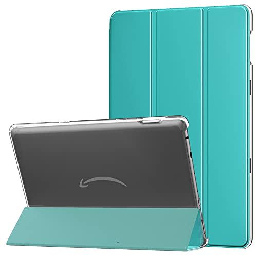 MoKo Funda Compatible con Nueva Fire HD 10 y 10 Plus Tableta (11ª Generación, Versión 2021), Inteligente Trasera Transparente Ultra Delgada Soporte Protectora Plegable Cubierta, Azul Pavo Real