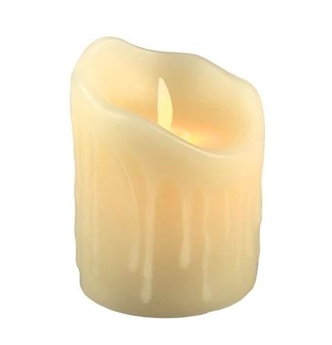 furein Velas LED DE Cera AUTÉNTICA, con Llama LED, Color Natural de la Cera, decoración hogar, Restaurante, Oficina, despacho, Ambiente romántico y cálido, sin Llama Real, Segura (7.5x10cm)