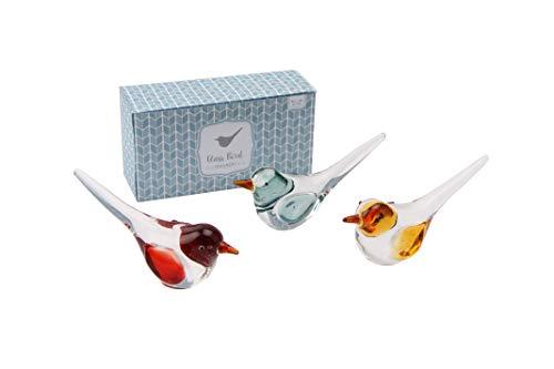 Oiseau en verre dans un coffret cadeau   Un motif à choisir au hasard   Un seul oiseau sera fourni   De la gamme de verrerie artisanale de CGB Giftware   Animal en verre   Ornement   Cadeau   Oiseau
