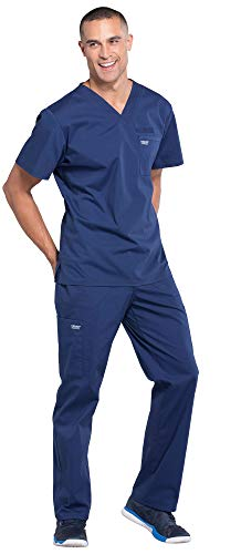 CHEROKEE WW675 & WW190 WW Professionals Men's Scrub Set - V-Neck Top & Tapered Leg Drawstring Cargo Pant, Navy, L-L