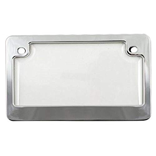 Custom Combos 92777 Clear Unbreakable Motorcycle License Plate Shield and Frame Combo with Chrome Frame