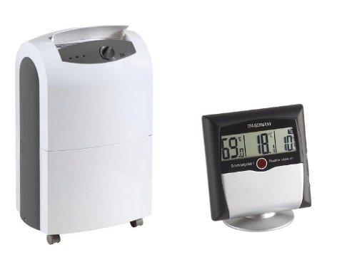 Remko ETF 320 Luftentfeuchter (max.30 L/Tag), geeignet für Räume bis 240 m³ / 100m² + TFA Digitales Thermo Hygrometer , Anzeige von Temperatur und Luftfeuchtigkeit zur Raumklima-Überwachung, Alarmfunktion bei Schimmelgefahr