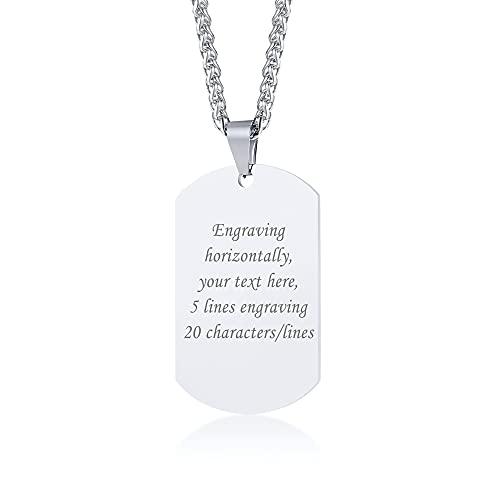 VNOX Nombre de Acero Inoxidable Personalizado Engrabado Etiqueta de Perro Collar Colgante de Plata Personalizada para Las Mujeres,Cadena Libre